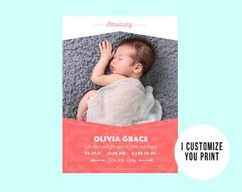 Coral Custom Photo Card, Birth Announcement Printable Card Baby