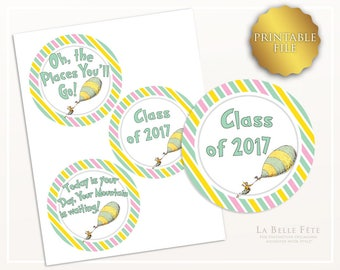 Oh the Places You'll Go Round GIFT / FAVOR TAGS / Centerpiece picks, goody bag tags, diy printable