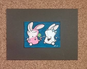 Sharing, Marshmallow Bunnies, Ready-to-Frame ACEO