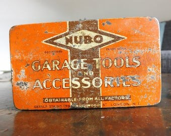 Vintage Nubo garage tools and accessories tin