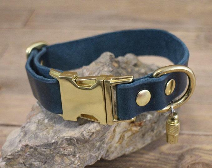 Side release collar, ID address tube, Custom leather collar, Leather dog collar, Gift, Buckle collar, Rustic collar, Distressed collar.