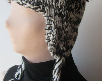 Black and White Ear Flap Chunky Knit Hat/Black and White Knit Hat/Black and White Chunky Knit Hat//Knit Ear Flap Hat/Chunky Ear Flap Hat