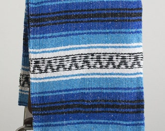 Mexican Throw Blanket - Blue Toned Mexican Blanket