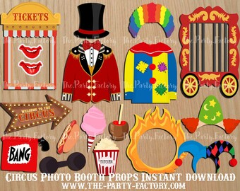 Circus Photo Booth Props Instant Download, Digital File, Printables