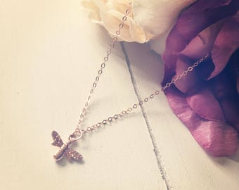 Rose gold necklace with Queen Bee charm - gift ideas for her on anniversaries, birthdays or special occasions