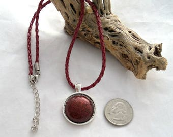 16 Inch Faux Leather Braided Necklace with Vintage Cabochon Pendant (1297)