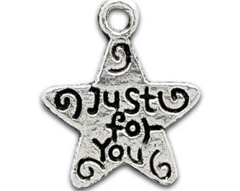 Just For You Star Charms, 14 mm x 12 mm - Pack of 20 (1060)