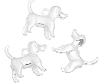 10 Silver Plated Hound Dog Charms (S33b1)