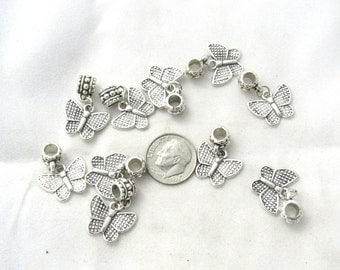 10 Antique Silver Butterfly Charm Dangle Beads (B156f18)