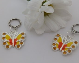 Set of Two Yellow Butterfly Stitch Markers for knitting for needles up to 6 mm.