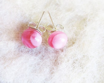 Pink Earrings.Lampwork Glass Jewelry. Pink Stud Earrings. Glass Earrings. Pink Studs. Glass Jewelry.  Everyday Earrings. Handmade