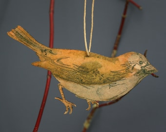 Sparrow - Wooden bird hanging