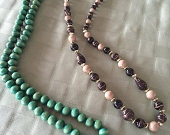 Two Beaded Necklaces - Vintage Costume Jewelry