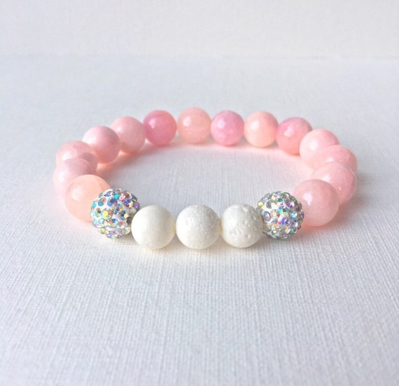 Essential Oil Diffuser Bracelet - Pink gemstones with white sponge coral & silver rhinestone beads stretch bracelet