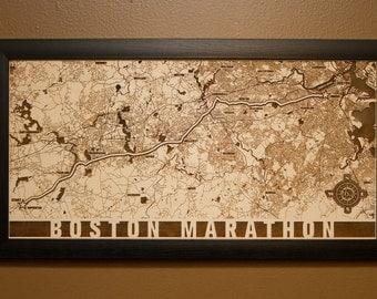 Boston Marathon Laser Engraved Map
