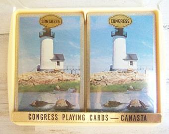 CANASTA CARDS - Lighthouse - Congress Double Deck