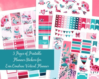 All is Full of Love - XL Printable Sticker Kit - 3 Pages of Stickers for Erin Condren Vertical - Instant Download- Valentine's Day