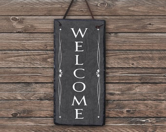Outdoor Welcome Sign! Slate Welcome Sign, Outdoor Sign, Outdoor Plaque, Weatherproof Sign, Housewarming Gift, Wedding Gift. Slate Tile