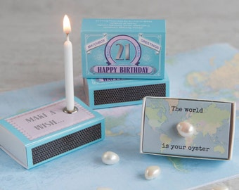 Happy 21st Birthday Greeting For Her In A Matchbox - 21st Birthday - Milestone Birthday - 21st Birthday Card - Birthday Candle - Pearl Gift