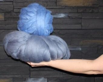 Big Yarn, Blue Teal Aqua Shades, Giant Super Bulky Chunky Yarn, Big Stitch Merino Wool, 1-2 week turnaround