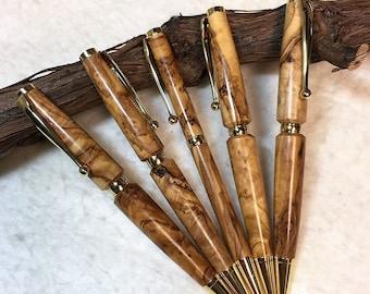 Set of 5  Handmade Bethlehem Olive Wood Pens