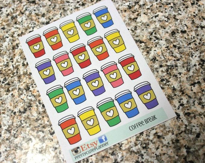 Planner Stickers - Coffee Cup Stickers - Reminder Stickers - Functional Stickers - Travel Coffee Cup - Fits Erin Condren - Happy Planner