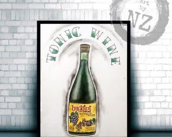 Buckfast Art print // Buckfast Valentines Day Gift // Buckfast / scotland gift //  Buckfast greetings card // Buckfast Wall Art  // scottish