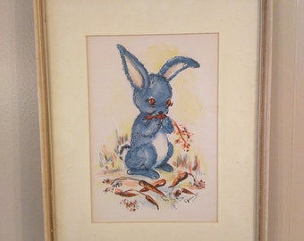 Vintage blue bunny ink and watercolor painting
