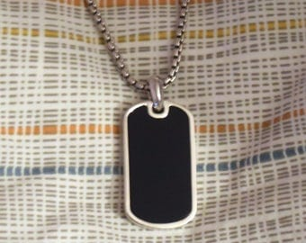 Solid Sterling Silver .925 Blue Black Onyx Dog Tag Pendant Necklace