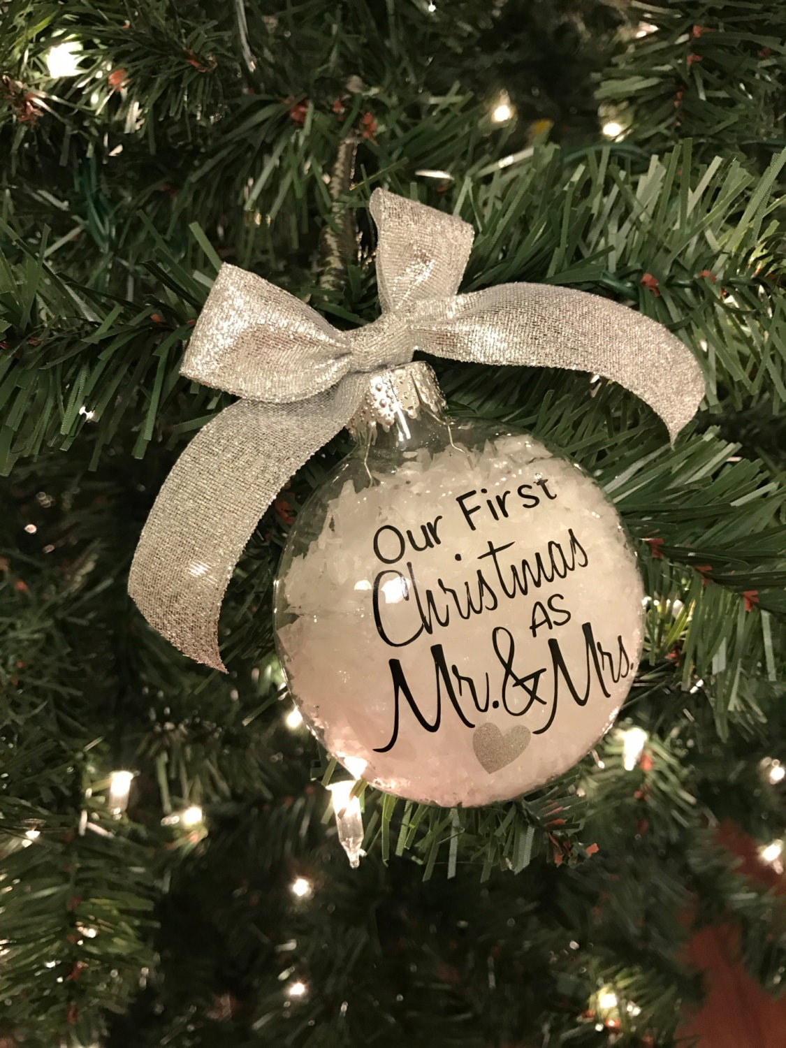 Our First Christmas as Mr. & Mrs. Glass Christmas Ornament Free ...