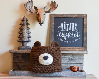 bear basket, bear woodland Nursery decor, woodland nursery