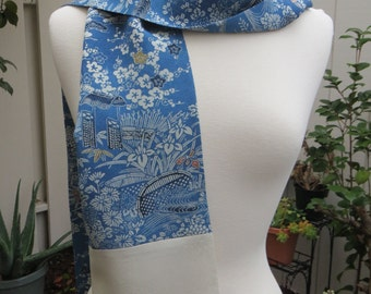 Blue and Creme Silk Scarf made from re-purposed Japanese Kimono