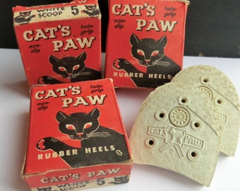 Vintage Cat's Paw Box with Rubber Heels Old Stock Advertising Display