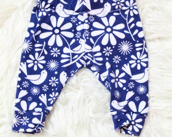 Baby/Toddler Bird Leggings, Blue Bird Floral Leggings