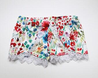 Baby Toddler Coachella Shorts, Floral Coachella Shorts