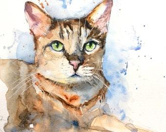 "Original Watercolour - Free delivery ""Bengal cat Portrait"" (pet cat hair feline green eyes sweet)"
