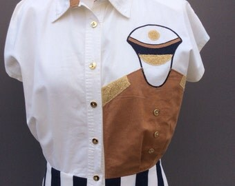 Amazing nautical bleu blanc rouge eighties vintage dress | size 10/12