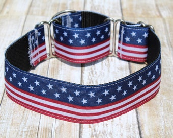 Patriotic Martingale Collar - 4th of July Martingale Collar - Greyhound Martingale - Choker Dog Collar - Greyhound Collar