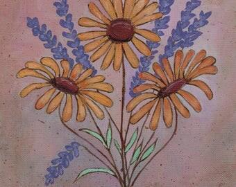 Original Folk Art Canvas Painting Bundle of Daisy and Lavender Flowers