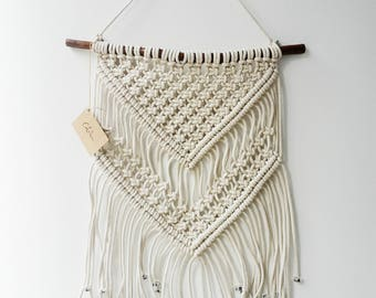Large Cream Macrame Wall Hanging by Courtney Blackwell