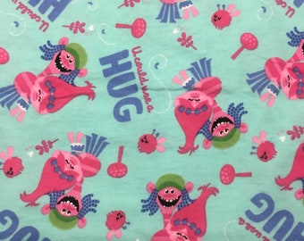"Trolls fabric - U could use a hug - By the Half Yard, 44"" wide, cotton FLANNEL - teal fabric - cartoon fabric - character fabric"