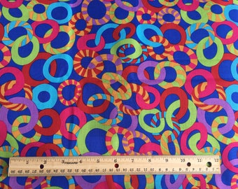 "bright circles fabric, By the Half Yard, 44"" wide, 100% cotton, quilting cotton"
