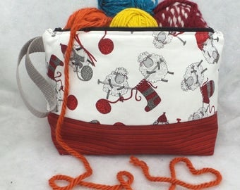 Two Compartment Sheep Knitting Project Bag, Knitting Tote,  Knitting Project Bag, Crochet Project Bag, Knitting Tote, Yarn Tote