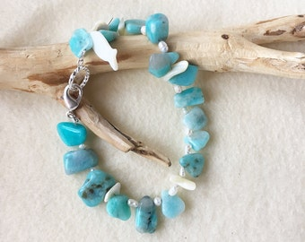Pearl and Peruvian Amazonite Bracelet, Aqua Blue Jewelry, Caribbean Jewelry, Unique Wedding Jewelry, Caribbean Wedding, Heart Chakra Jewelry