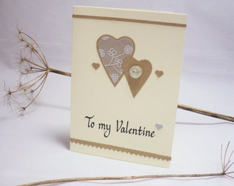 Valentine card, valentine heart card, heart card, rustic valentine card, valentine gift, heart gift, button card, silver heart card