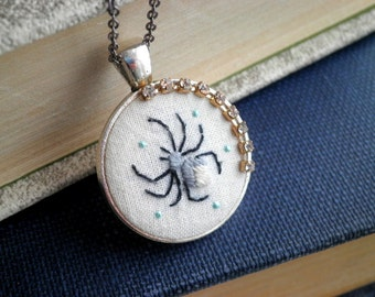 Embroidered Spider Necklace - Hand Stitched Arachnid Embroidery Necklace - Insect & Rhinestone Modern Fiber Art Animal Jewelry Gift For Her