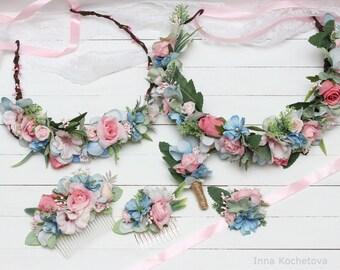 Wedding set Blue pink Flower hair wreath Flower bracelet Floral comb Groom boutonniere Flower accessories Bridal floral crown Flower girl