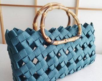 Blue handbag, handbag, minimal bag, kimono bag, summer bag, Japanese, bamboo, eco friendly, gift, birthday,