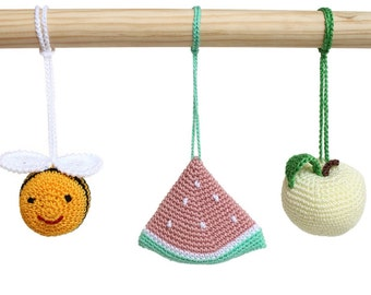 Crochet baby rattles Bee, apple and watermelon, hanging toys, baby gym toys, crib toys, car seat toys, nursery decoration