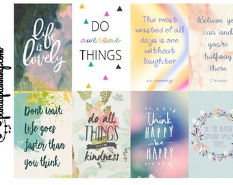 Motivational Quote box Planner Stickers - life is lovely - full box tab flag happy planner erin condren matte glossy weekly